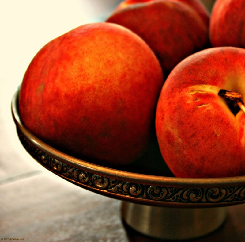 Peaches in Pewter Bowl